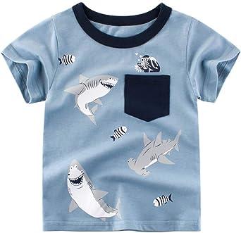 Askong - Camiseta de Manga Corta para niños, algodón, diseño de ...