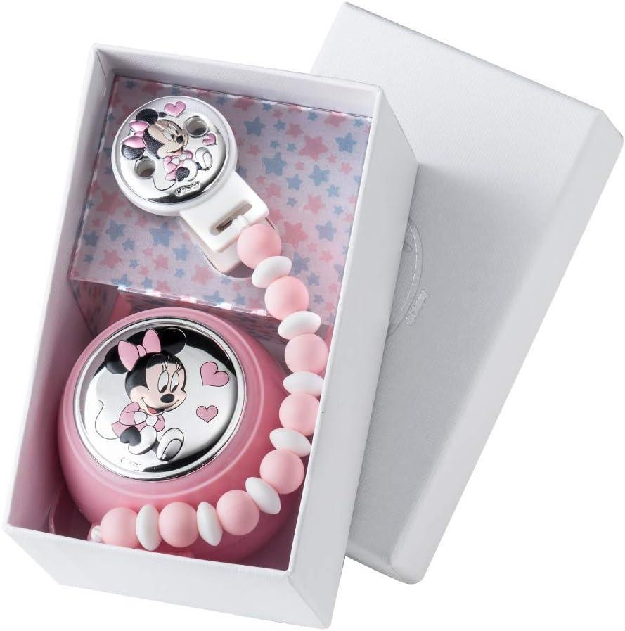 Valenti /& Co/ /Disney Mickey/ cadena portachupete con Caja de Plata Bianco /Clip chupete