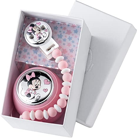 Disney Baby - Minnie Mouse - Clip para chupete con cadena de cuentas - Bolitas de colores hechas con silicona de calidad alimentaria para los dientes del bebé - Detalles en plata: Amazon.es: Bebé