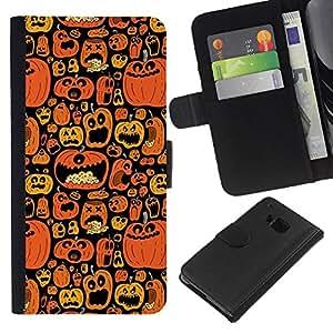 For HTC One M7 Case , Orange Pumpkin Black Holiday - la tarjeta de Crédito Slots PU Funda de cuero Monedero caso cubierta de piel