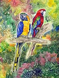 Parrot loro cabeza bandera, poliéster, Multicolor, grande