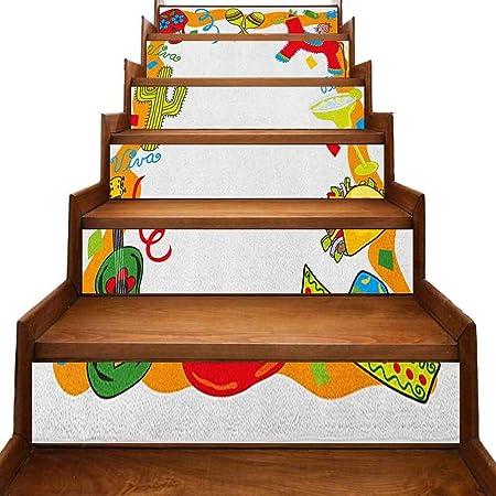 Fiesta - Pegatinas de vinilo para escalera, diseño de dibujos animados, piñata mexicana, taco, chili, pimienta, azúcar, calavera, guitarra, resistente a la humedad, multicolor: Amazon.es: Bricolaje y herramientas