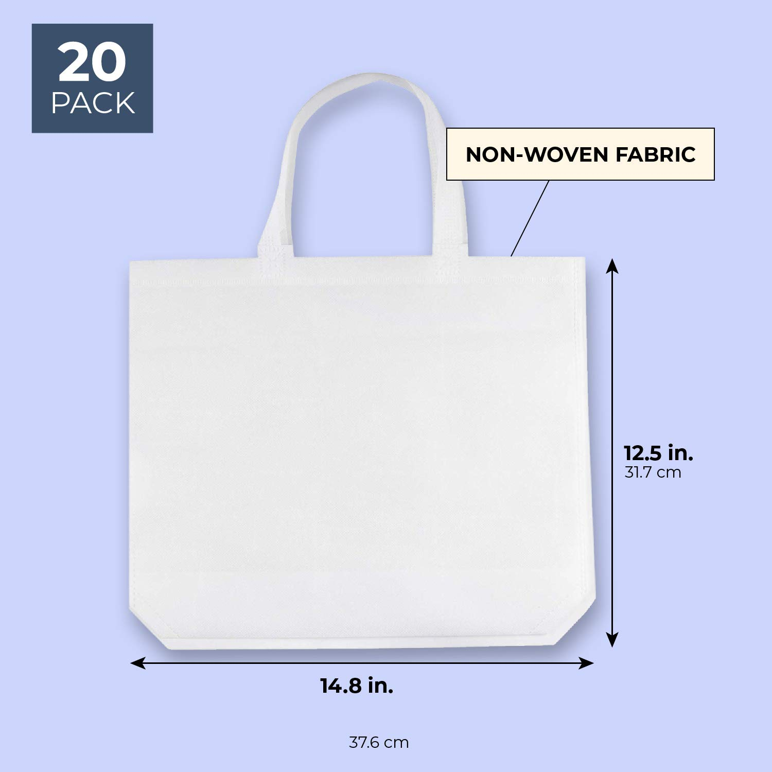 Juvale Bulk Blank White Tote Bags for DIY Crafts, Gifts, Grocery, Party Favors (20 Pack)