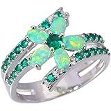 CiNily Rhodium Plated Green Fire Opal Emerald Women Jewelry Gemstone Ring Size 5-12