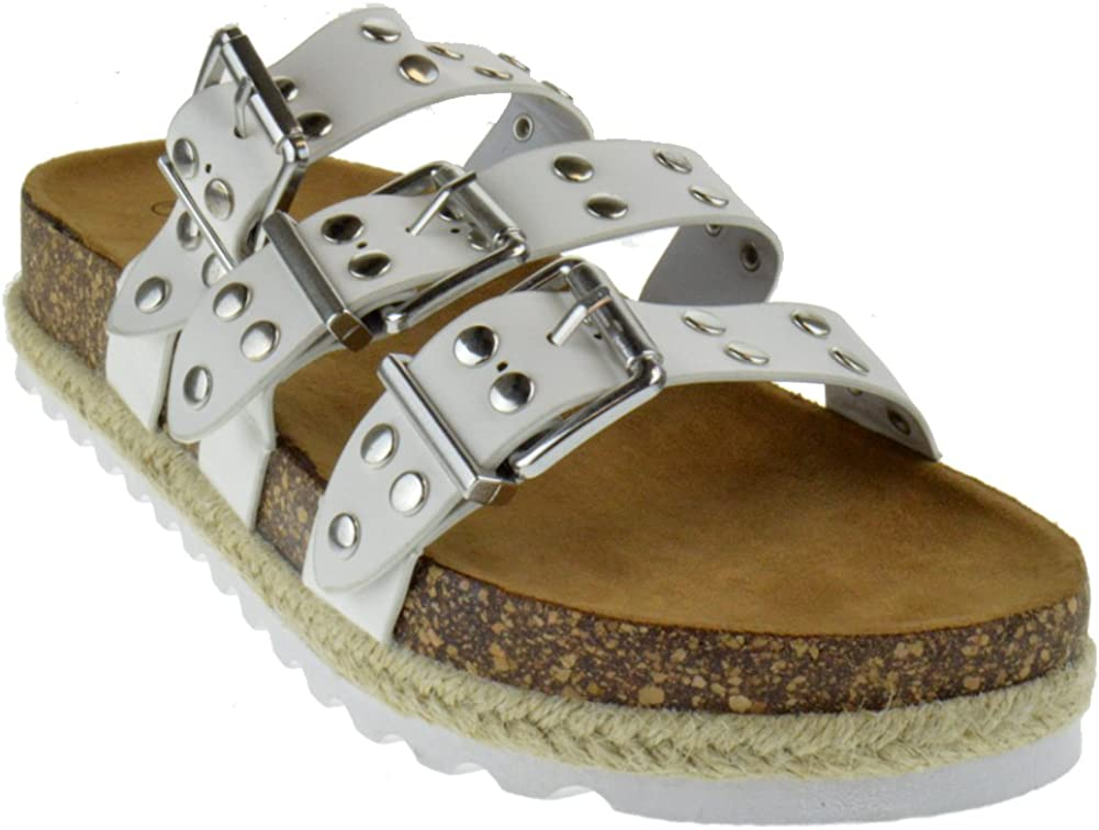Nature Breeze Yanna 03 Womens Studded Buckle Strappy Twine Cork Wedge Sandals