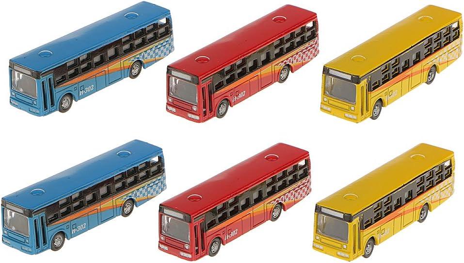 Desconocido 6pcs Paisaje Ferroviario Urbano Autobús Modelo Fundición a Presión Acc Bricolaje 17mm