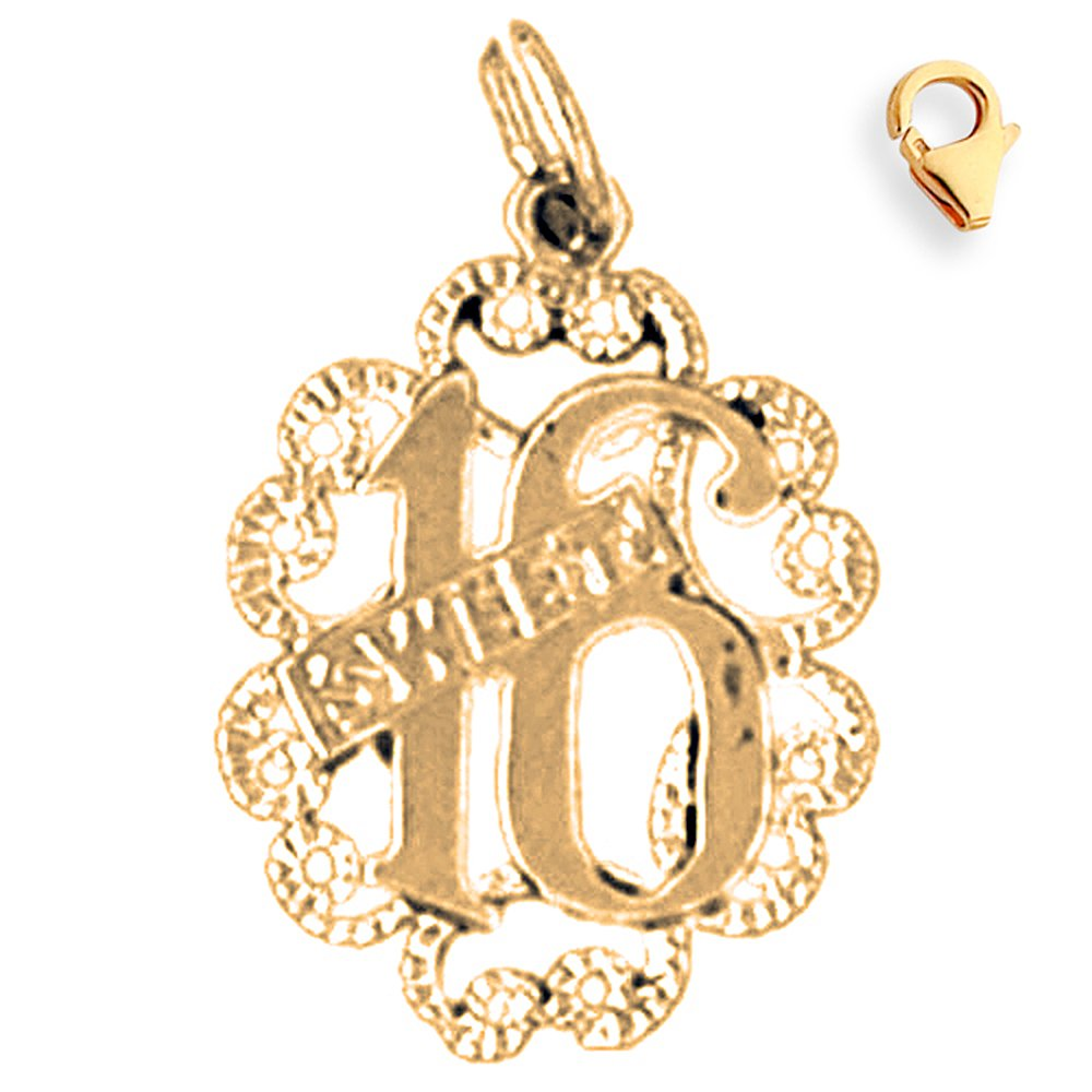 23mm Silver Yellow Plated Sweet 16 Charm