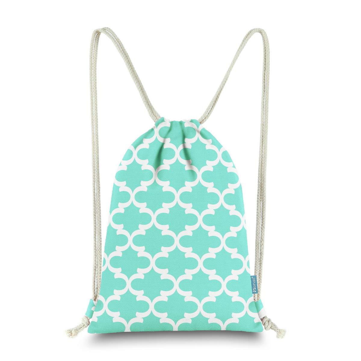 Miomao Drawstring Backpack Bag Quatrefoil Gym Sack Pack Geometric Sinch Sack Sport String Bag With Pocket Christams Gift Beach Bag 13 X 18 Inches Fair Aqua