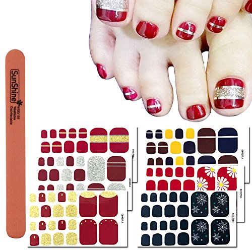 (WOKOTO 6 Sheets Toenail Polish Strips Stickers For Women And 1Pc Nail Files Set Red Solid And Strip Color Flower Design Toe Nail Decals Stickers Kit)