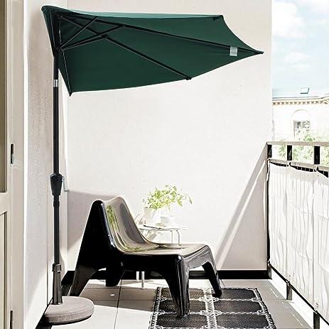 10u0027 FT Feet Outdoor Patio Half Umbrella Wall Balcony Door Aluminum Sun  Shade   GREEN