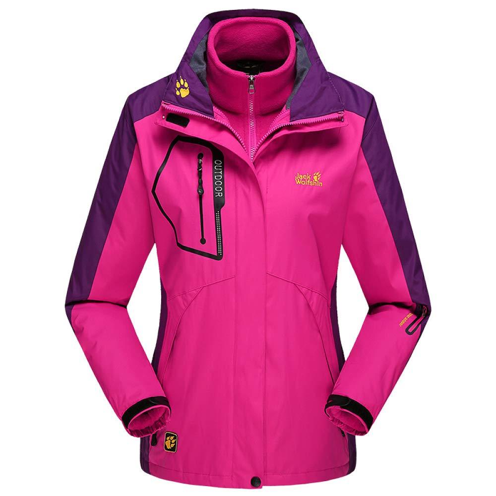 Damen wasserdichte Winddichte Regenjacke Fleece Warme 3 In 1 Ski-Jacken Winterjacke Sports Jacke Warmer Mantel Skijacke Freizeitjacke Große Größen,Pink-7XL
