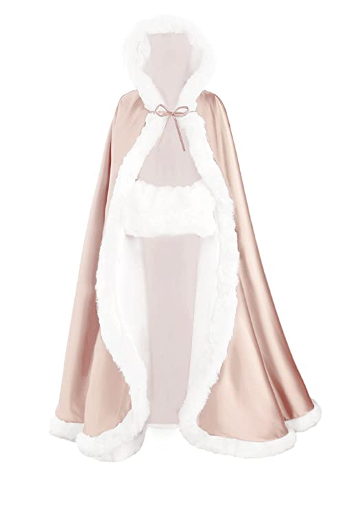 Champagne Bridal Cape Satin with Faux Fur Trim Wedding Cloak Jacket Coat Shawl