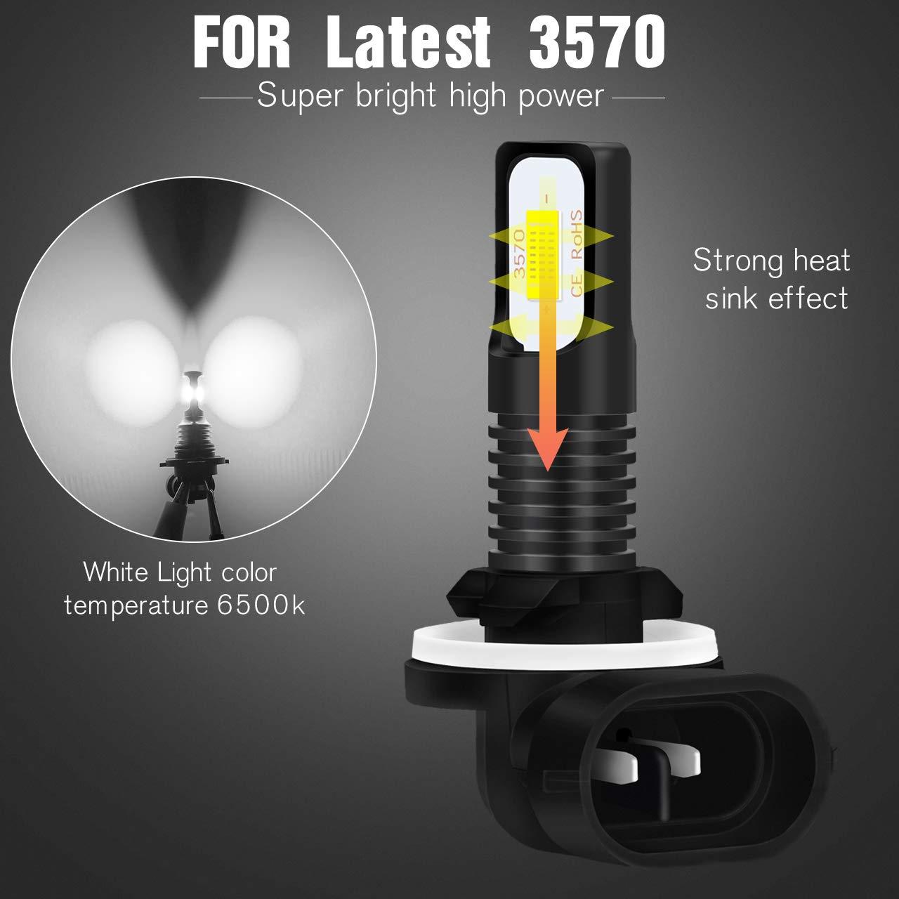KaTur H3 Bombillas para Luces antiniebla LED Extremadamente Brillantes 2400 l/úmenes M/áx Xen/ón Blanco Blanco H3 LED de Alta Potencia de 75 vatios para luz Diurna DRL o Luces antiniebla