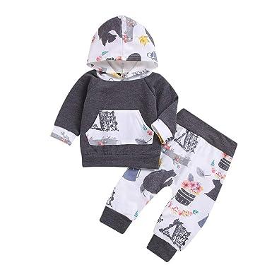 f1861be67 Amazon.com  2PC Infant Boy Girl Cotton Clothing Set Outfits 0-24 ...