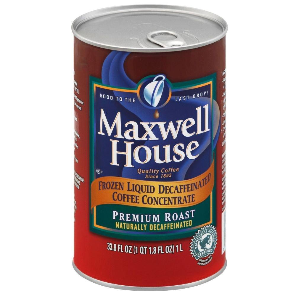 Maxwell House Frozen Premium Roast Decaffeinated Liquid Coffee Concentrate - 33.8 oz. carton, 4 cartons per case