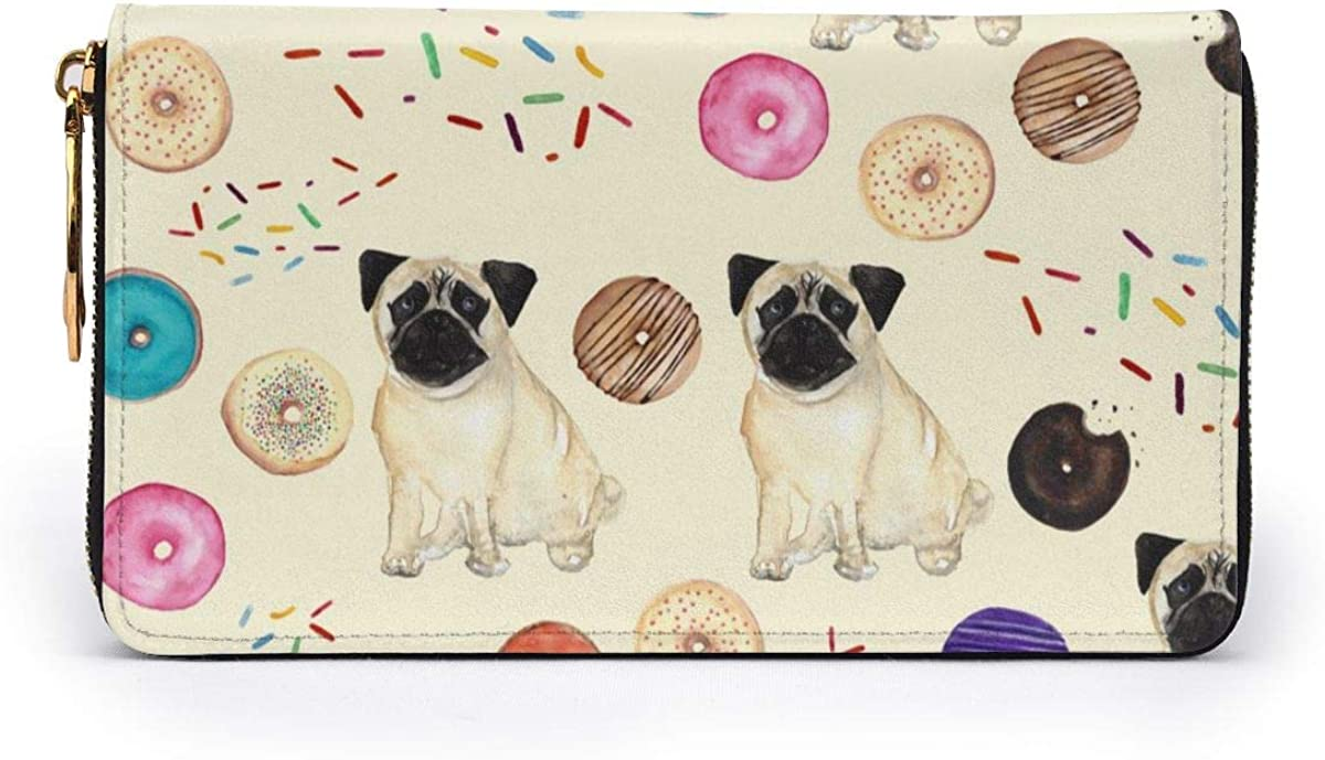 Dogs And Colorful Donuts Wallets For Men Women Long Leather Checkbook Card Holder Purse Zipper Buckle Elegant Clutch Ladies Coin Purse
