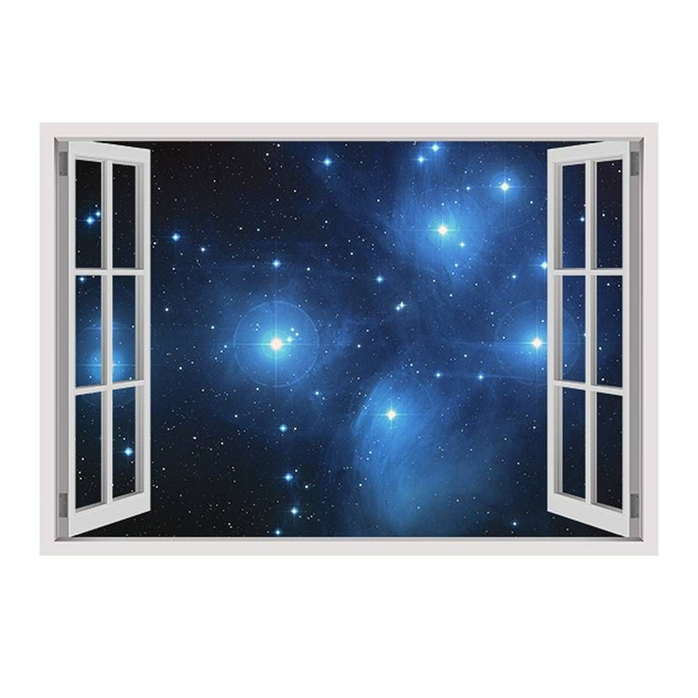 Alonline Art - Star Clusters Fake 3D Window Framed Stretched Canvas (100% Cotton) Gallery Wrapped - Ready to Hang | 34''x24'' - 85x61cm | Frame Oil Paintings Prints Framed Art for Bedroom Framed Print