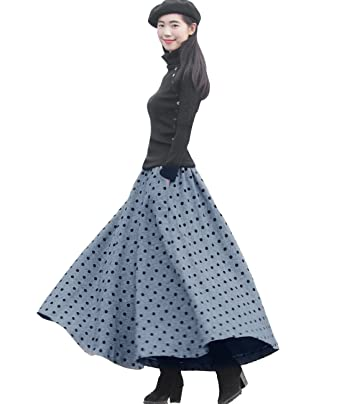 044f0d8e30 Femirah Women's Grey Winter Warm Wool Skirt Long Maxi Skirt: Amazon.co.uk:  Clothing