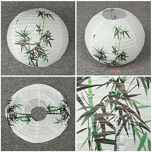 SeedWorld Lanterns - 35cm Festival Paper Lantern Bamboo Pattern Round Light DIY Craft Hanging Ball Lanterns Party Supplies Decoration 2017 DC 1 PCs