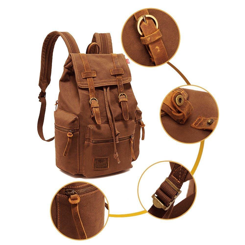 788c8cc3cfca1 KIPTOP Nylon Vintage Rucksacke Laptoprucksack Damen Herren Schulrucksack Retro  Backpack für Campus Studenten und Outdoor Reisen größeres Bild