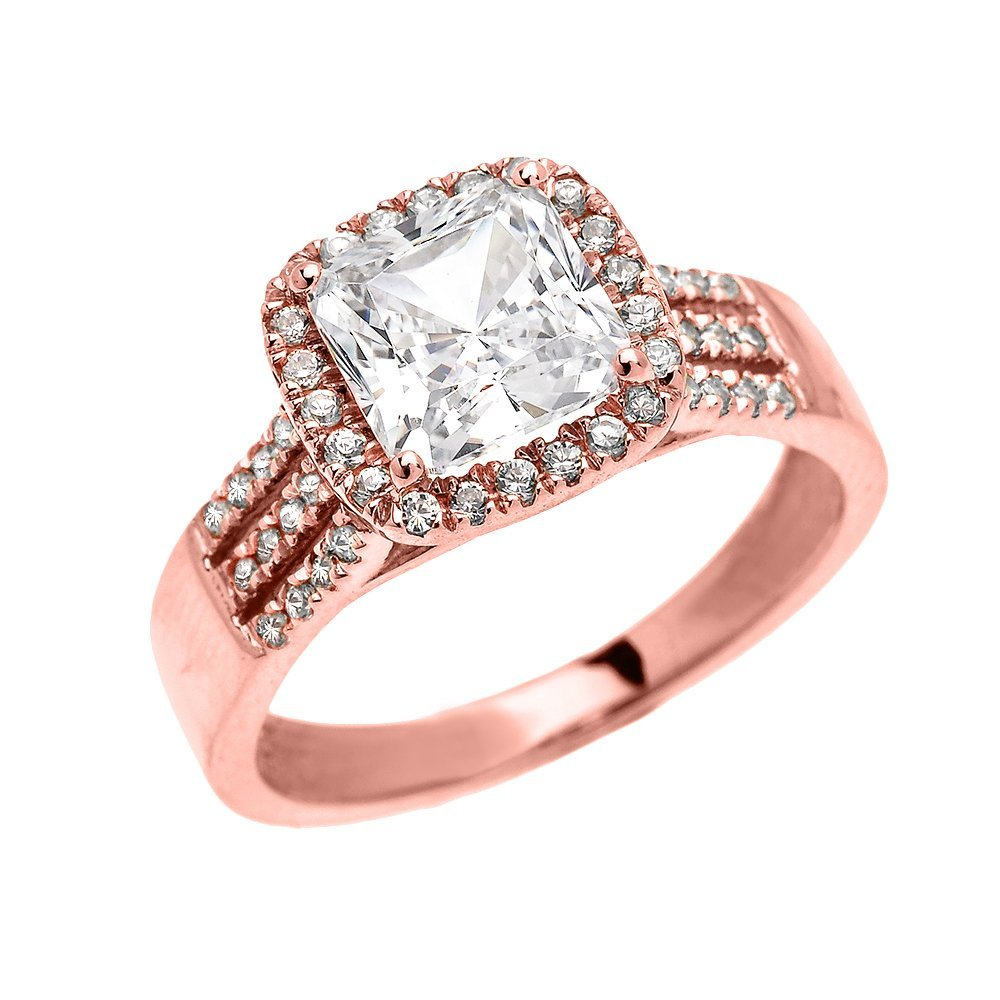 14k Rose Gold Dainty 3 Carat Micro Pave Princess Cut Halo Engagement Ring(Size 11.5)