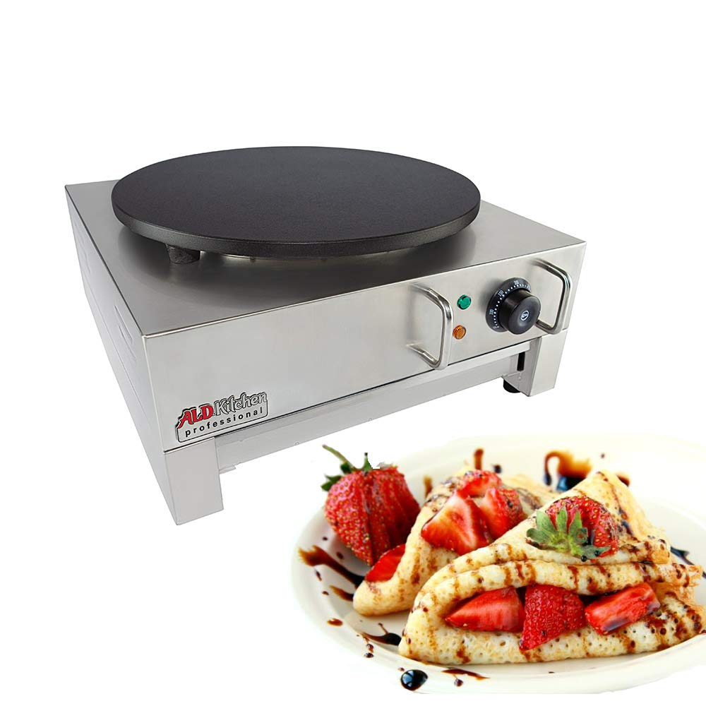 ALDKitchen Electric Crepe Machine Griddle, Commercial Electric Plate Crepe Machine Snack Machine Electric Hot Plate (Single)