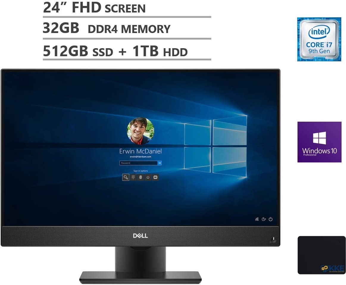 "Dell OptiPlex 7470 All-in-One Business Desktop, 24"" FHD Display, Intel Core i7-9700 8 Cores Processor up to 4.7GHz, 32GB DDR4 RAM, 512GB PCIe SSD + 1TB HDD, Webcam, Windows 10 Pro, Black, KKE Mousepad"