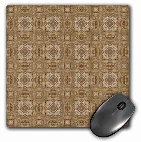 3dRose Jaclinart Wood Feeling Antique Gold and Taupe Abstract Geometric Collection - Taupe and cream bordered abstract geometric flowers pattern - MousePad ()
