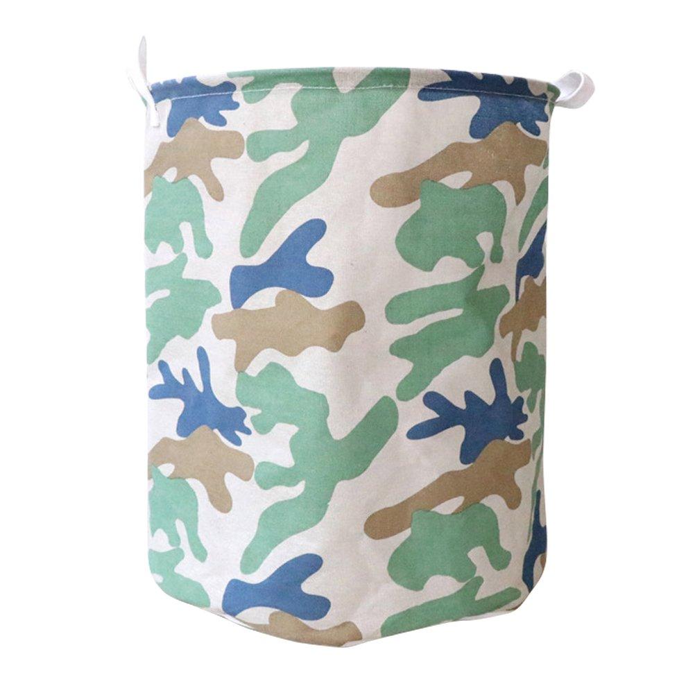 Fieans Collapsible Camoランドリーバスケット防水コーティングラウンドストレージビンDirty Clothes Hamper with Handles ブルー B07CVGSFK2 ブルー