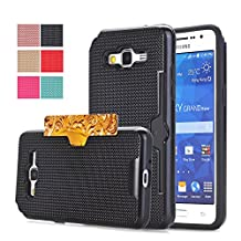 Galaxy Grand Prime Case, Card Slot Holder Case Cover for Samsung Galaxy Go Prime / Galaxy Grand Prime/ SM-G530H / SM-G530F by BAISRKE- Hybrid Dual Layer Protective Phone Cover (Black)