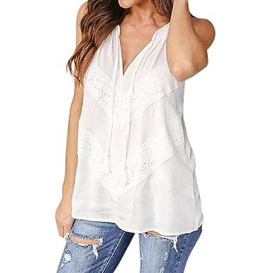 detailed look 6954d 0ceef Rcool Camicia Donna, Moda Cascante V-Collo Blusa Pizzo Senza ...