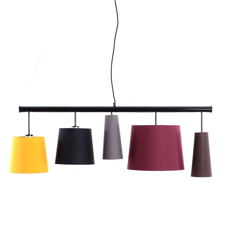 Élégante lampe suspendue Parecchi Colore | 100,3cm, Multicolore | lampe à suspension avec 5abat-jours xtradefactory GmbH