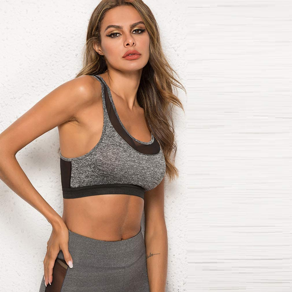 TraveT Womens Wide Straps Sports Bra Breathable Mesh Padded Wirefree High Impact Support for Yoga Gym,Dark Gray,XL
