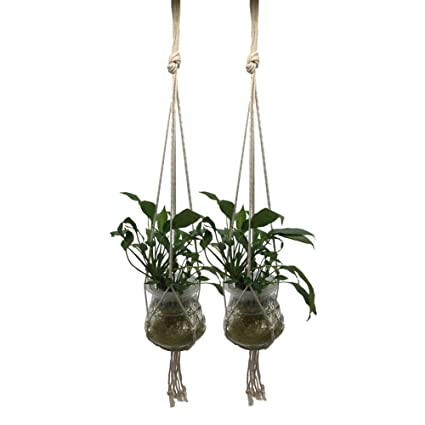 Macrame Plant Hanger Hanging Planter Plant Holder For Indoor Outdoor  Ceiling Patio 2 Packs With Hooks