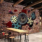 LWCX Personalized Customization Vintage Wallpaper 3D Stereo Metal Tire Murals Bar Restaurant Cafe Background Silk Fabric Material 250X175CM