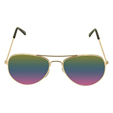 1a35aec2b Amour Golden Full Framed Medium Sized Unisex Aviator Sunglasses with Green  & Pink Mirrored Lens for