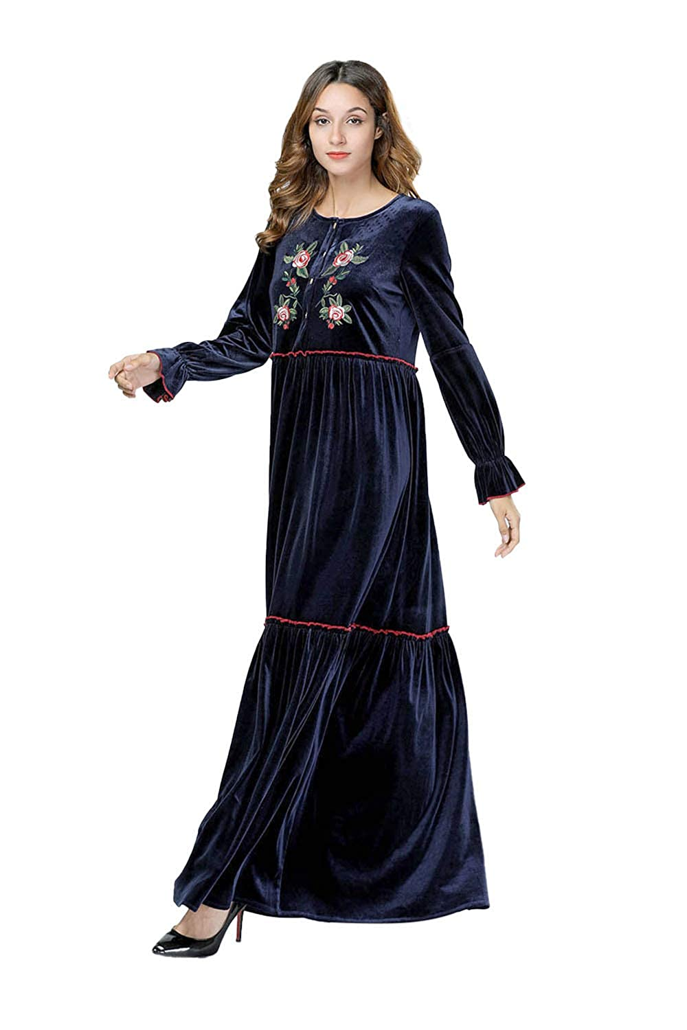 Yuntown Women Long Sleeve Baggy Plus Size Embroidery Prom ...