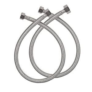 """HOMEIDEAS 24-Inch Faucet Connector Braided Stainless Steel Supply Hose 3/8"""" Compression Female Thread x 1/2"""" I.P. Female Straight Thread Faucet Hose Replacement Pack of 2(1 Pair)"""