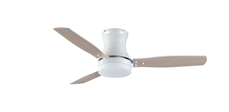 TroposAir ModernAire Flush-Mount Hugger Ceiling Fan in Pure White ...