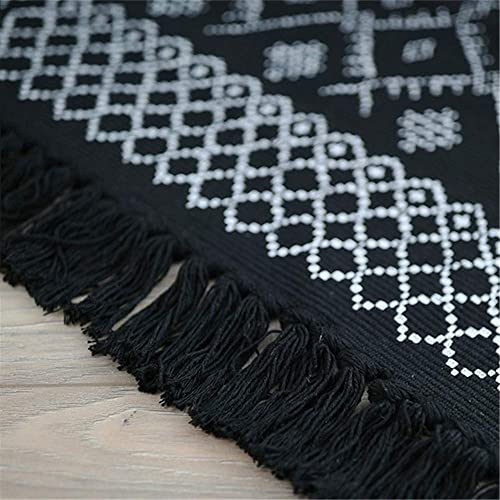 USTIDE Black White Cotton Printed Area Rug Tassels Hand Woven Rug Indoor Mat Entryway Bathroom Laundry Room