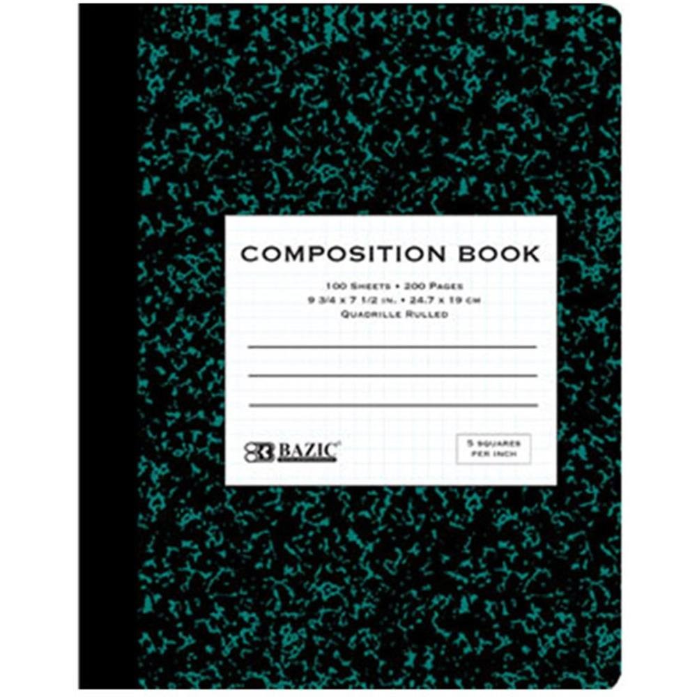 Pack of 3 100 Ct 5-1 Inch Quad-ruled Green Marble Composition Book