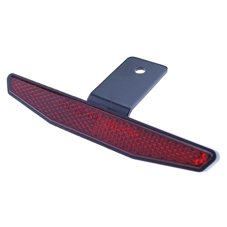 Motorrad Reflektor hinten rot mit Halter 125x18mm R/ückstrahler Katzenauge Roller Quad E-gepr/üft