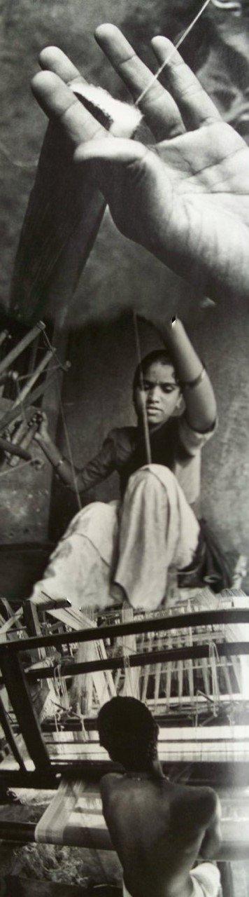 Gitika Goyal Home Cotton Khadi Silver Screen Printed Tablecloth with Square Design, Blue, 72'' x 72'' by Gitika Goyal Home (Image #2)