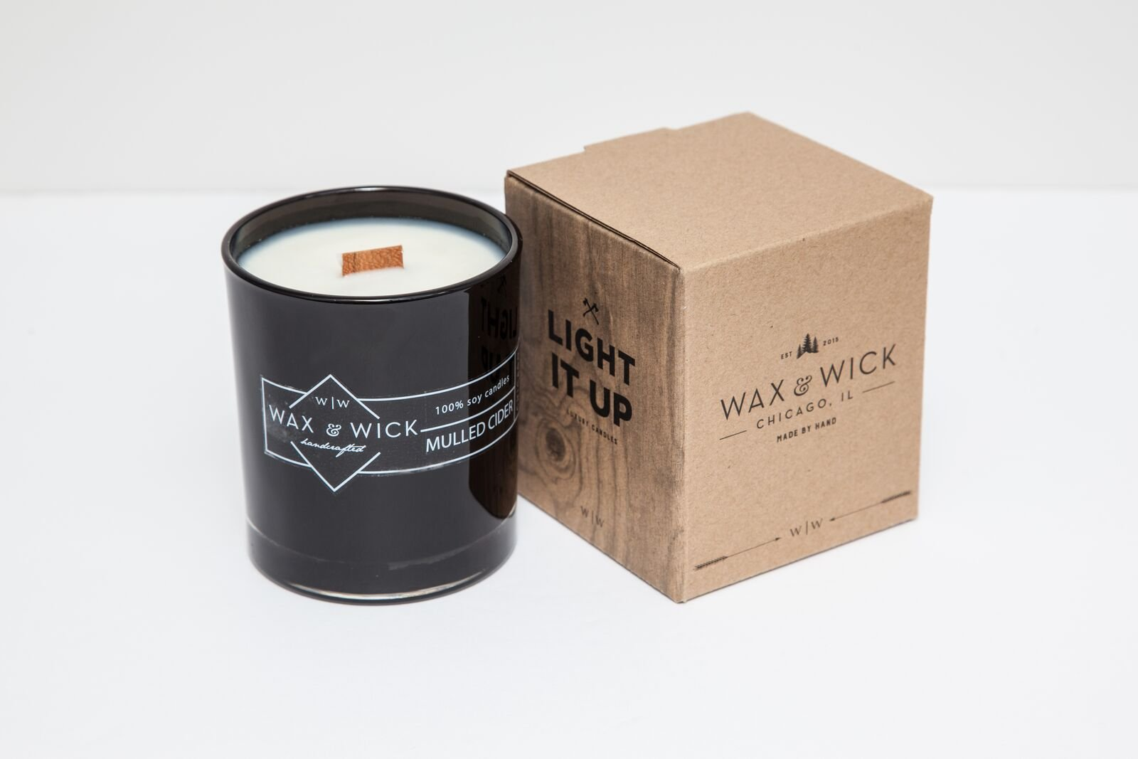 Scented Soy Candle: 100% Pure Soy Wax with Wood Double Wick | Burns Cleanly up to 60 Hrs | Mulled Cider Scent - Notes of Apple, Nutmeg, Vanilla, Caramel. | 12 oz Black Jar by Wax and Wick by Wax & Wick (Image #4)