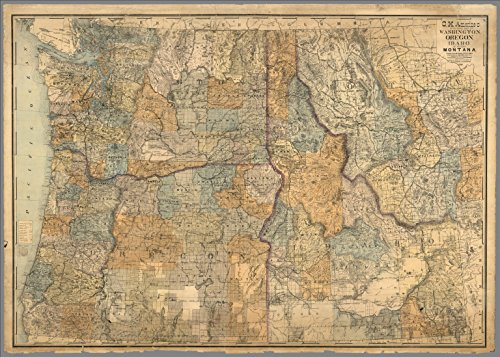 Montana Sectional - Map Poster - Sectional map of Washington, Oregon, Idaho, and western Montana - 24