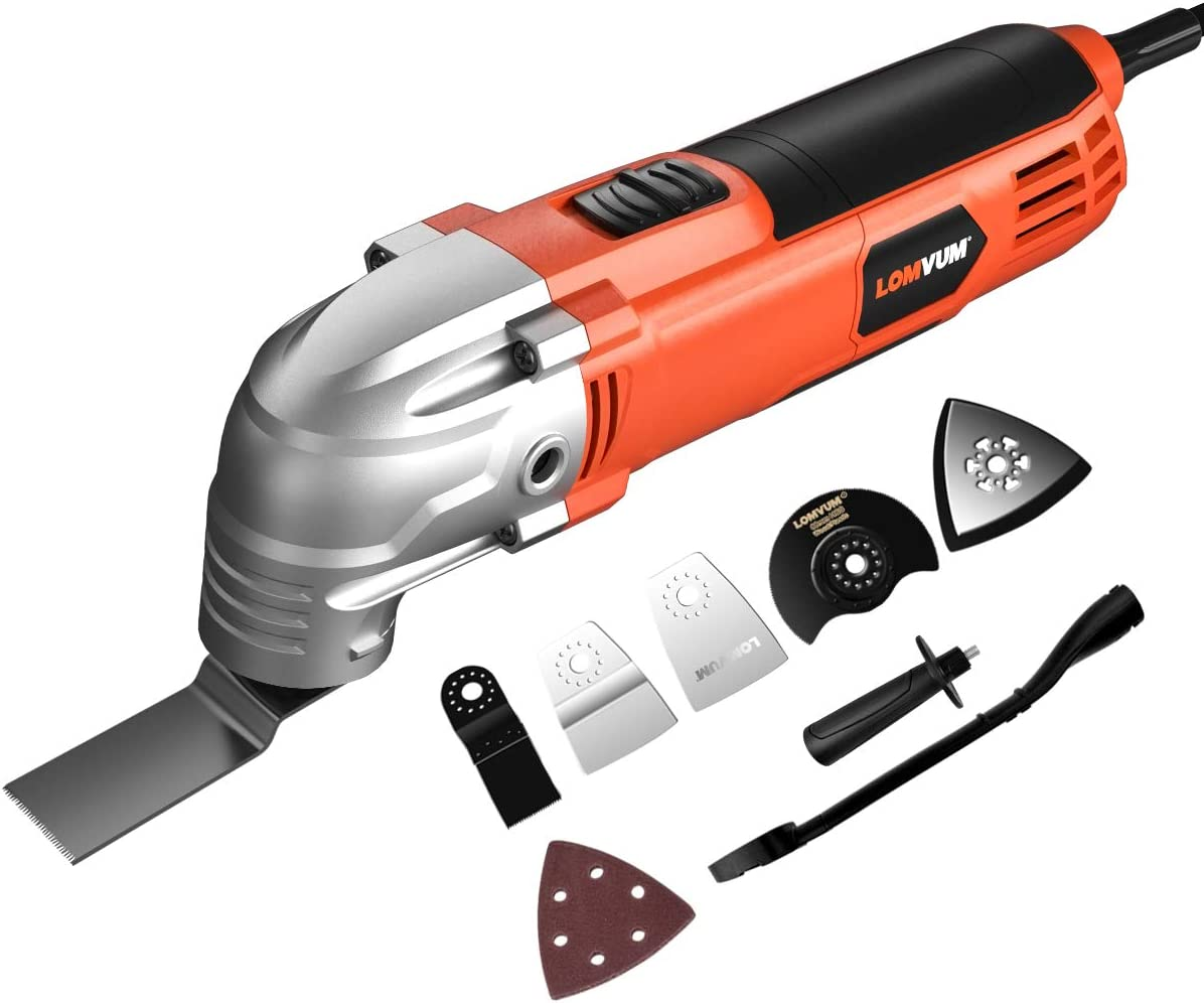Oscillating Multi-Tool, Lomvum 2A Oscillating Tool Variable Speed 3 Oscillating Angle 23000 OPM, Free Blades Accessories Included