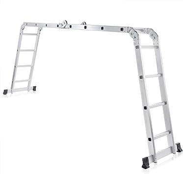 MAXCRAFT Escalera Multifunción Multi-propósito Escalera Ajustable Plegable Aluminio Carga 150 kg Conforme EN-131 - Longitud 4,43 m: Amazon.es: Bricolaje y herramientas