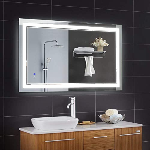 Keonjinn 40 x 24 Inch Anti-Fog Horizontal Vertiacl Dimmable LED Bathroom Vanity Mirror Large Wall Makeup Mirror with Light
