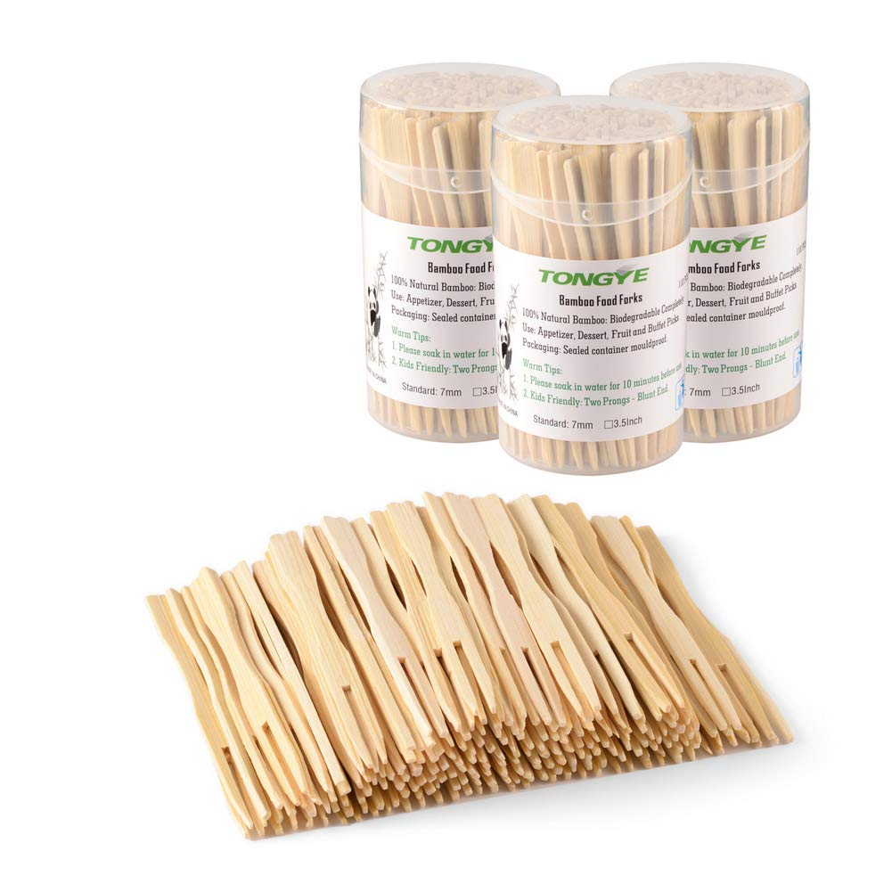 Bamboo Forks 3.5 Inch, Mini Food Picks for Party, Banquet, Buffet, Catering, and Daily Life. Two Prongs - Blunt End Toothpicks for Appetizer, Cocktail, Fruit, Pastry, Dessert. 330 PCS (3 packs of 110) by TONGYE (Image #1)