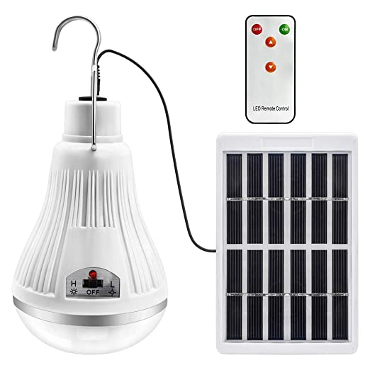 solar llevó la bombilla de luz - proyector de lámpara linterna portátil con panneau solaire con mando a distancia control remoto para senderismo al ...